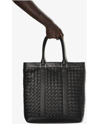 Bottega Veneta Intrecciato Weave Leather Tote Bag - Black