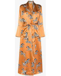 Olivia Von Halle Silk Zelda Capability Robe - Orange