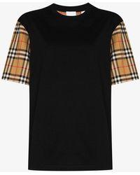 Burberry Checked Cotton T-shirt - Black