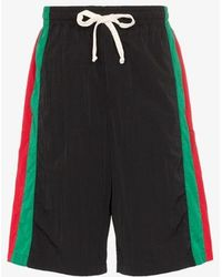 Gucci Mens Multicolour Web Stripe Bermuda Shorts - Black