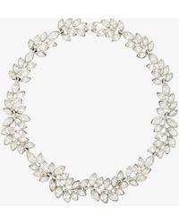 Kenneth Jay Lane Crystal-embellished Leaf Necklace - Metallic