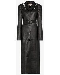 Matériel Belted Long Faux Leather Coat - Black