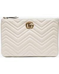 b7ae0580945 Gucci - White Quilted-leather GG Clutch Bag - Lyst