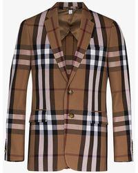 Burberry House Check Wool Blazer - Brown