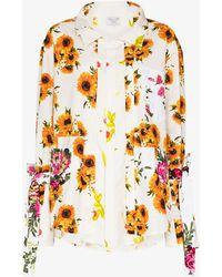 Collina Strada Kantamanto Floral Button-up Shirt - White