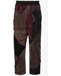 By Walid Gerald Patchwork Cropped Trousers - Purple