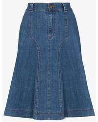 See By Chloé Pleated Midi Skirt - Blue