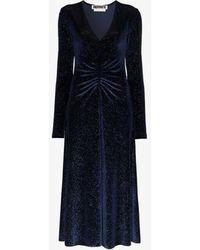 ROTATE BIRGER CHRISTENSEN Number 7 Velvet Metallic Long-sleeve Dress - Blue