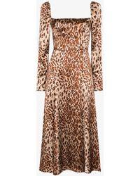 Reformation Maryanne Leopard Print Silk Midi Dress - Brown