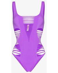 Agent Provocateur Dakotta Slashed Swimsuit - Purple