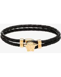 Versace Medusa Head-embellished Leather Bracelet - Black
