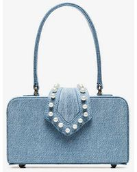 Mehry Mu - Blue In The 50s Pearl Embellished Denim Box Bag - Lyst