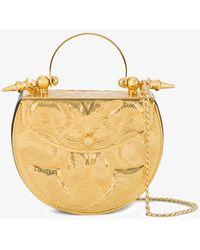 OKHTEIN - Gold Palmette Minaudière Mini Metal Bag - Lyst