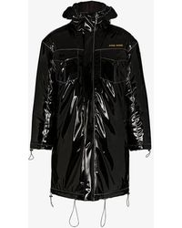 Pyer Moss Black Hooded Vinyl Parka Coat