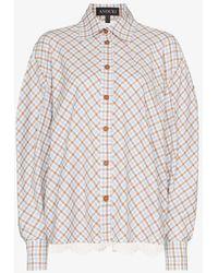 ANOUKI Lace Back Check Cotton Shirt - Blue