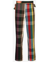 Bode Workshop Plaid Trousers - Green