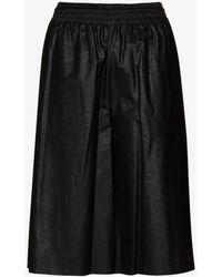 MM6 by Maison Martin Margiela High Waist Faux Leather Shorts - Black