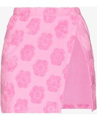 Frankie's Bikinis Stacey Floral Terry Skirt - Pink