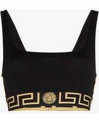 Versace Greca Border Sports Bra - Black