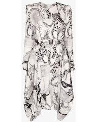 Stella McCartney White Horse Print Belted Silk Dress