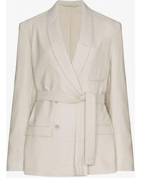 Lemaire Wadded Double-breasted Tie Jacket - Natural