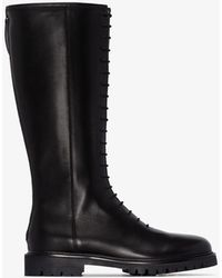 LEGRES Tall Leather Combat Boots - Black