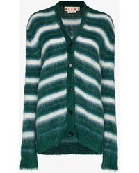 Marni - Striped Brushed Mohair Cardigan - Lyst