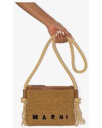 Marni Logo Raffia Shoulder Bag - Brown