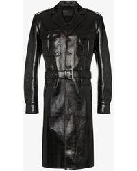 Prada Belted Leather Military Coat - Black