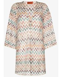 Missoni Zigzag Crochet Knit Kaftan - White