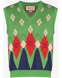 Gucci Jacquard Knit Jumper Vest - Green