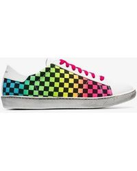 Amiri - White Viper Rainbow Check Low-top Leather Sneakers - Lyst