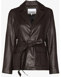 Ganni X S 50 Leather Wrap Jacket - Brown