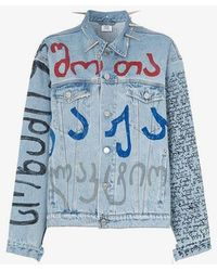 Vetements Spike Collar Denim Jacket - Blue