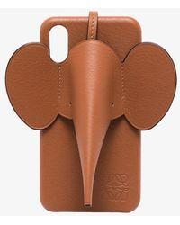 Loewe Leather Elephant Iphone X/xs Case - Brown