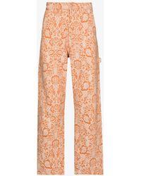 Aries X Lee Jeans 191 Carpenter Floral Jeans - Orange
