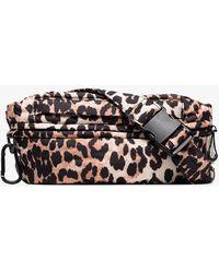 Ganni Leopard Print Belt Bag - Brown