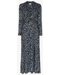 RIXO London Anja Leopard Print Maxi Dress - Black