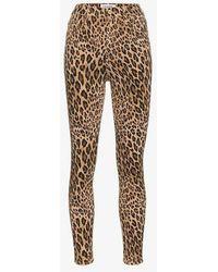 FRAME - Ali Leopard Print High - Rise Cigarette Jeans In Camel Multi - Lyst