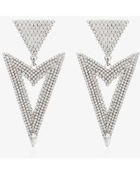 Alessandra Rich Triangle Cutout Crystal Earrings - Metallic