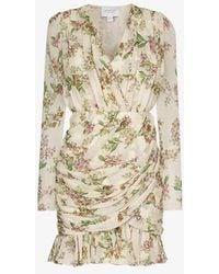 Giambattista Valli - Floral Print Draped Mini Dress - Lyst