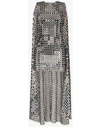 Ashish Cape Mirror Sequin Mini Dress - Grey