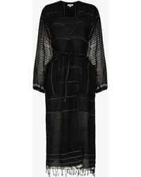 lemlem Tikuri Cotton Kaftan Dress - Black