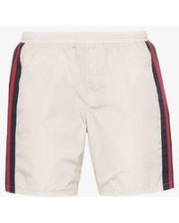 Gucci Monogram Stripe Swim Shorts - White