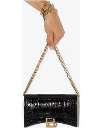 Balenciaga Hourglass Mini Mock Croc Leather Cross Body Bag - Black