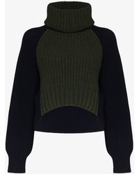 Sacai Two Tone Cropped Turtleneck Sweater - Blue