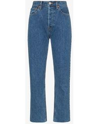 RE/DONE Stove Pipe Cropped Jeans - Blue