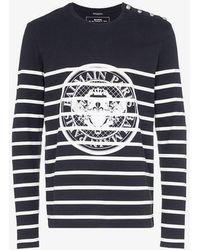 742a6c0c Balmain Logo-print Cotton-jersey Sweatshirt in Blue for Men - Lyst
