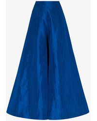 Rianna + Nina Palazzo Silk Moiré Trousers - Blue
