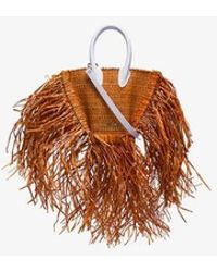 Jacquemus Terracotta Le Petit Baci Frayed Straw Bag - Brown